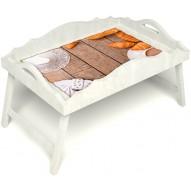 Столик для завтрака в постель «Русская берёза», «Круассаны» с фигурным бортиком цвет белый
