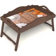 Столик для завтрака в постель «Русская берёза», «Круассаны» с фигурным бортиком цвет орех