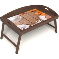 Столик для завтрака в постель «Русская берёза», «Круассаны» с 3-мя высокими бортиками цвет орех