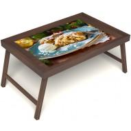 Столик для завтрака в постель «Русская берёза», «Яблочный штрудель» без ручек цвет орех