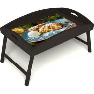 Столик для завтрака в постель «Русская берёза», «Яблочный штрудель» с высоким бортиком цвет венге