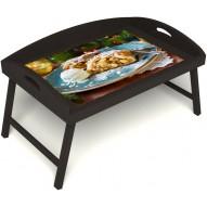Столик для завтрака в постель «Русская берёза», «Яблочный штрудель» с 3-мя высокими бортиками цвет венге