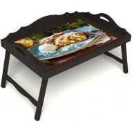 Столик для завтрака в постель «Русская берёза», «Яблочный штрудель» с 3-мя фигурными бортиками цвет венге