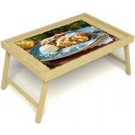 Столик для завтрака в постель «Русская берёза», «Яблочный штрудель» без ручек цвет светлый