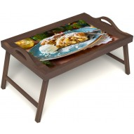 Столик для завтрака в постель «Русская берёза», «Яблочный штрудель» с ручками цвет орех