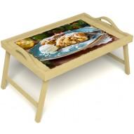 Столик для завтрака в постель «Русская берёза», «Яблочный штрудель» с ручками цвет светлый