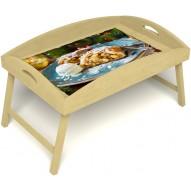 Столик для завтрака в постель «Русская берёза», «Яблочный штрудель» с высоким бортиком цвет светлый