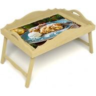 Столик для завтрака в постель «Русская берёза», «Яблочный штрудель» с фигурным бортиком цвет светлый