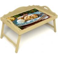 Столик для завтрака в постель «Русская берёза», «Яблочный штрудель» с 3-мя фигурными бортиками цвет светлый
