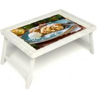 Столик для завтрака в постель «Русская берёза», «Яблочный штрудель» без ручек цвет белый