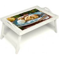 Столик для завтрака в постель «Яблочный штрудель» с ручками цвет белый