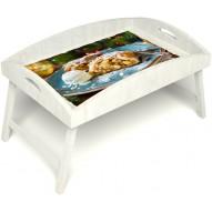 Столик для завтрака в постель «Русская берёза», «Яблочный штрудель» с высоким бортиком цвет белый
