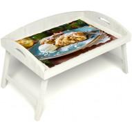 Столик для завтрака в постель «Русская берёза», «Яблочный штрудель» с 3-мя высокими бортиками цвет белый