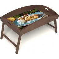 Столик для завтрака в постель «Русская берёза», «Яблочный штрудель» с высоким бортиком цвет орех