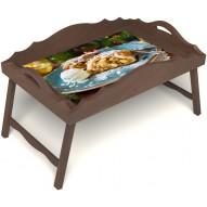 Столик для завтрака в постель «Русская берёза», «Яблочный штрудель» с фигурным бортиком цвет орех