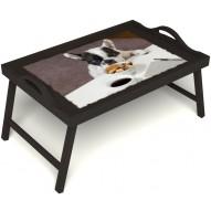 Столик для завтрака в постель «Маленький друг» с ручками цвет венге
