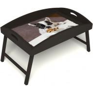 Столик для завтрака в постель «Маленький друг» с высоким бортиком цвет венге