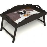 Столик для завтрака в постель «Маленький друг» с фигурным бортиком цвет венге