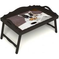 Столик для завтрака в постель «Маленький друг» с 3-мя фигурными бортиками цвет венге