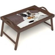 Столик для завтрака в постель «Маленький друг» с ручками цвет орех