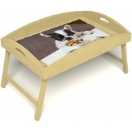 Столик для завтрака в постель «Маленький друг» с высоким бортиком цвет светлый