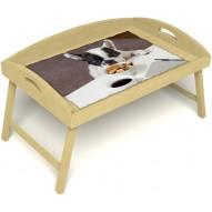 Столик для завтрака в постель «Маленький друг» с 3-мя высокими бортиками цвет светлый