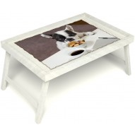 Столик для завтрака в постель «Маленький друг» без ручек цвет белый