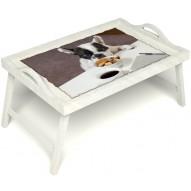 Столик для завтрака в постель «Маленький друг» с ручками цвет белый