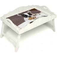 Столик для завтрака в постель «Русская берёза», «Маленький друг» с фигурным бортиком цвет белый