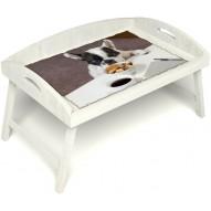 Столик для завтрака в постель «Маленький друг» с 3-мя высокими бортиками цвет белый