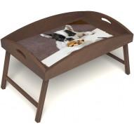 Столик для завтрака в постель «Маленький друг» с высоким бортиком цвет орех