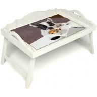 Столик для завтрака в постель «Русская берёза», «Маленький друг» с 3-мя фигурными бортиками цвет белый
