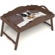 Столик для завтрака в постель «Маленький друг» с фигурным бортиком цвет орех