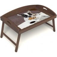 Столик для завтрака в постель «Маленький друг» с 3-мя высокими бортиками цвет орех