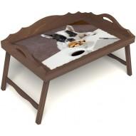 Столик для завтрака в постель «Маленький друг» с 3-мя фигурными бортиками цвет орех