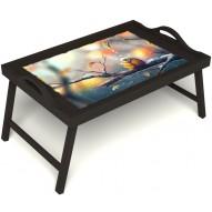 Столик для завтрака в постель «Птичка моя» с ручками цвет венге