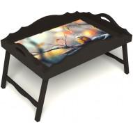 Столик для завтрака в постель «Русская берёза», «Птичка моя» с фигурным бортиком цвет венге