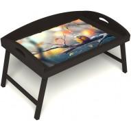 Столик для завтрака в постель «Птичка моя» с 3-мя высокими бортиками цвет венге