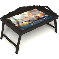 Столик для завтрака в постель «Русская берёза», «Птичка моя» с 3-мя фигурными бортиками цвет венге