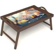 Столик для завтрака в постель «Птичка моя» с ручками цвет орех