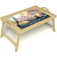 Столик для завтрака в постель «Птичка моя» с ручками цвет светлый