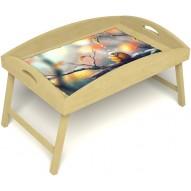 Столик для завтрака в постель «Птичка моя» с высоким бортиком цвет светлый
