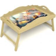 Столик для завтрака в постель «Птичка моя» с фигурным бортиком цвет светлый