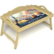 Столик для завтрака в постель «Русская берёза», «Птичка моя» с 3-мя фигурными бортиками цвет светлый