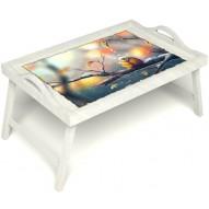 Столик для завтрака в постель «Птичка моя» с ручками цвет белый