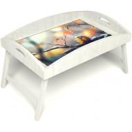 Столик для завтрака в постель «Птичка моя» с высоким бортиком цвет белый