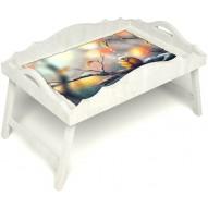 Столик для завтрака в постель «Птичка моя» с фигурным бортиком цвет белый