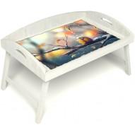 Столик для завтрака в постель «Птичка моя» с 3-мя высокими бортиками цвет белый