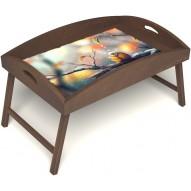 Столик для завтрака в постель «Птичка моя» с высоким бортиком цвет орех