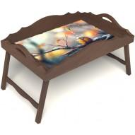 Столик для завтрака в постель «Русская берёза», «Птичка моя» с фигурным бортиком цвет орех